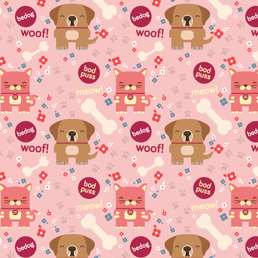 Bedog and Bodpus pink wallpaper