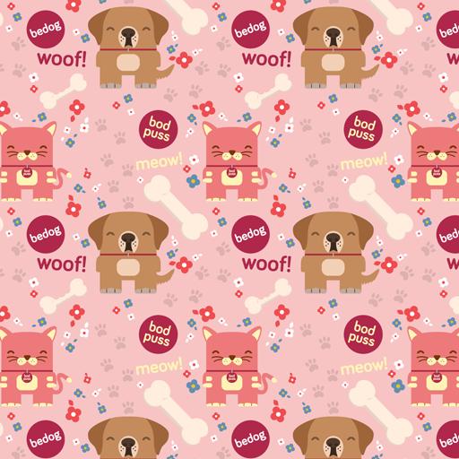 Bedog and Bodpus pink wallpaper